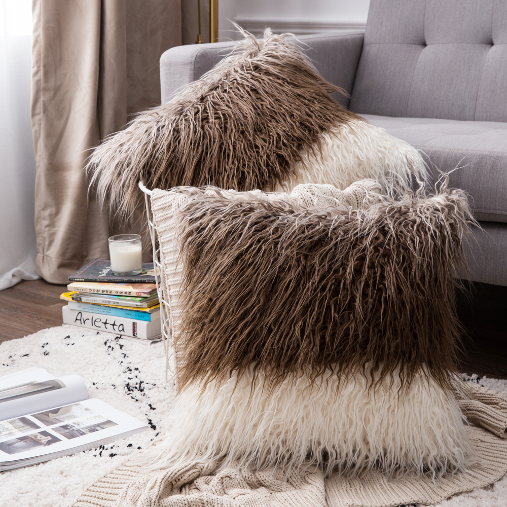 Fluffy Faux Fur Sofa Chair Pillow Case Cushion Cover for Room 3 Color Optional