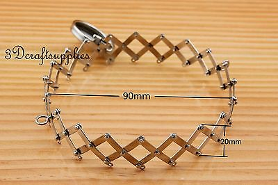 9 cm Open size Vintage expandable gate purse frame (with loops) nickel D12 ...