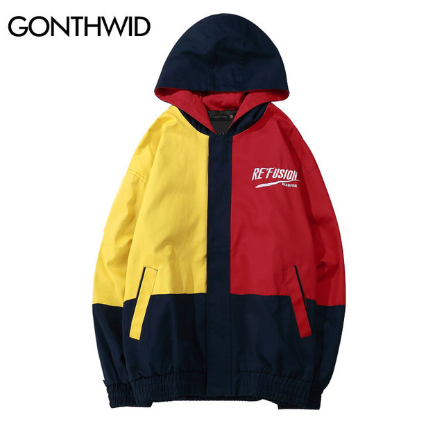 ce3379e071d GONTHWID Vintage Color Block Hooded Jackets Hip Hop Casual Full Zip up  Track Hoodies Jacket Coats