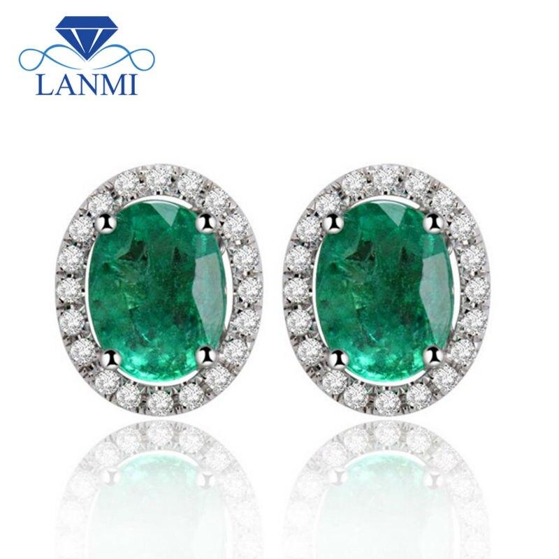 Fine Jewelry Solide 14Kt Blanc Or Boucles D'oreilles Émeraude Colombienne, 585 Or Diamant Émeraude Stud Boucle D'oreille Pour Vente E53