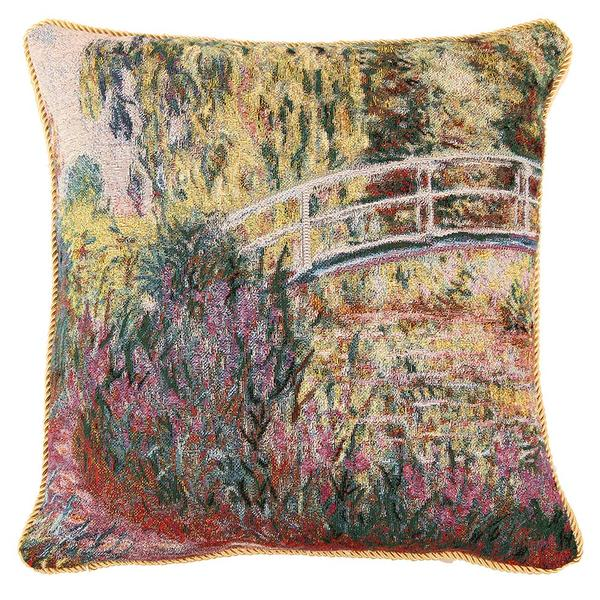 Art Cushion Cover Double Jacquard Knitting Throw Pillow Covers Case Gold cover cushion Claude Monet Water lilies Poppie