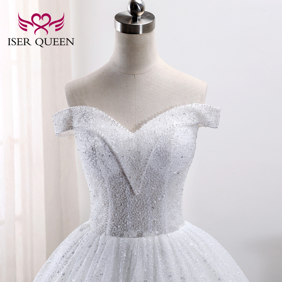 Luxury Dubai Heavy Crystal 2019 Ball Gown Beading Wedding Dress Cap Sleeve Wedding Gowns Plus Size Wedding Dresses WX0010