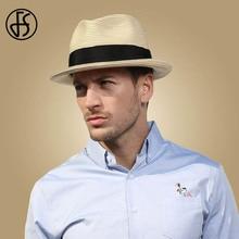 FS Summer Beach Panama Hat Men Straw Wide Brim Sun Hats For Mens Casual Trilby Gangster Fedora Male Jazz Sombrero Chapeau Femme