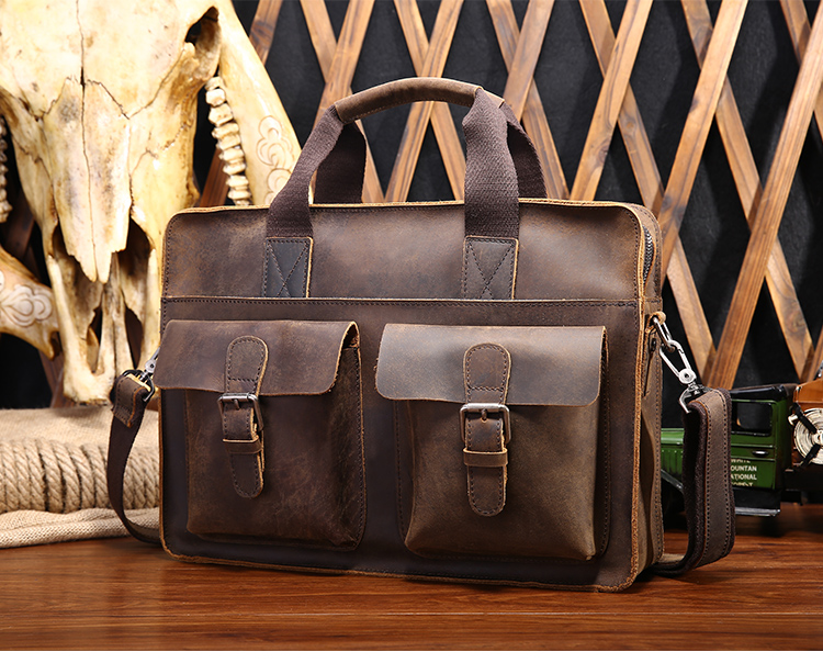 free shipping Horse genuine leather man bag fashion vintage one shoulder cross-body handbag briefcase commercial