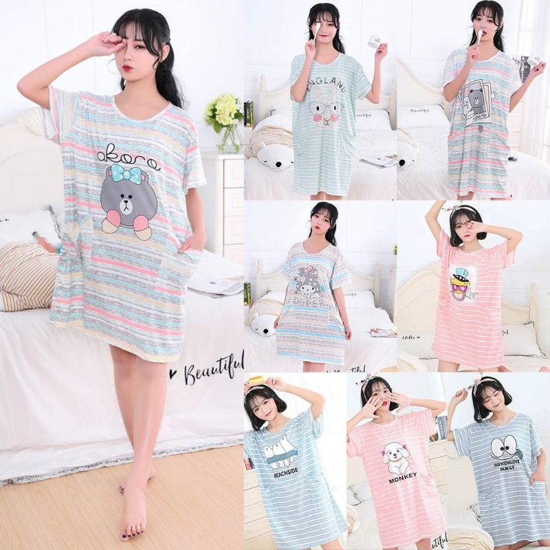 Women Girl Summer Milk Fiber Short Sleeve Nightdress Cute Cartoon Animal Printed Stripes Oversized Loose   Sleepshirt   With Pockets
