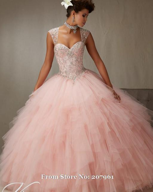 649e6f53ee Pink Detachable Quinceanera Dress Ball Gown Puffy Tiered Debutante Gown  Embroidery Beaded Sweet 16 Dresses vestido