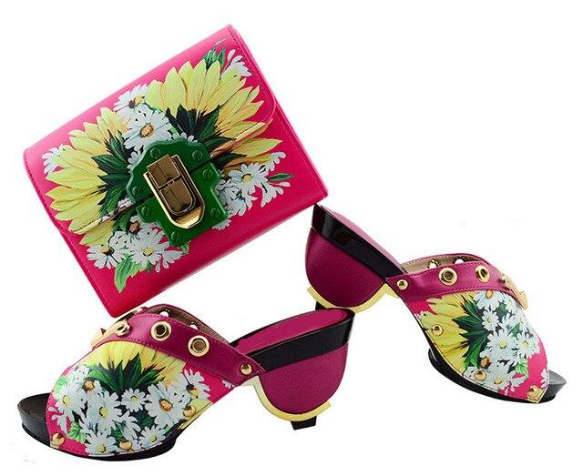 Gorgeous fuchsia ladies pumps african shoes match handbag set and prints flower for dress GL01,heel 7.5CM