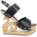 LF30831 Black/Red/White Stud Wedge Platform Slingback EVE Clogs Sandals Size 4/5/6/7/8/9