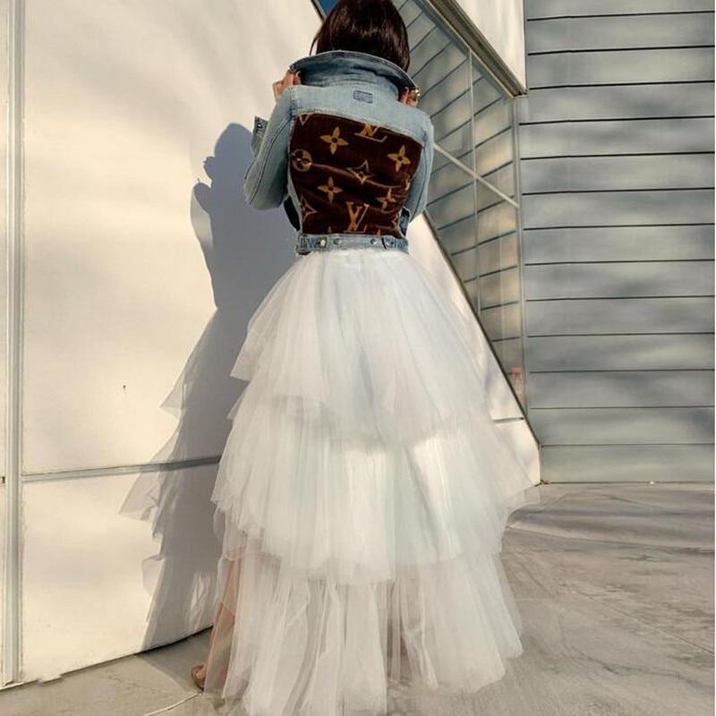 Y Boda Alta Blanco Faldas Niveles Elegantes Baja Largo Volantes Falda Maxi Piso Las Con Suave 2019 Tul Chic Mujeres Longitud 7qIEwfx