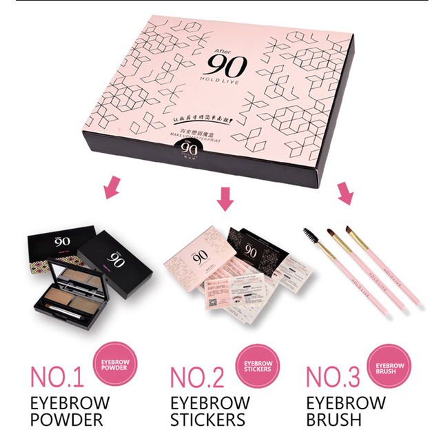 Hold Live 3 Pcsset Eyebrow Makeup Kit Eyebrows Powder Eye Stickers