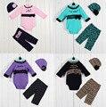 2017 de Moda de Nova 3 pcs Bebe Meninas Recém-nascidas Do Bebê Cap Criança Chapéus Chapéu + Bodysuit Bodysuits + Calças Set conjuntos de Roupa ropa de Bebe