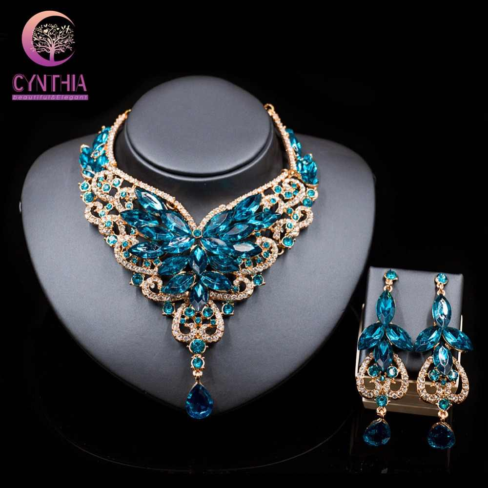 Thời trang tinh thể đồ trang sức kolye cổ điển pha lê trang sức Hoa Tuyên Bố Vòng Cổ bông tai Cho Phụ Nữ nigeria wedding beads phi