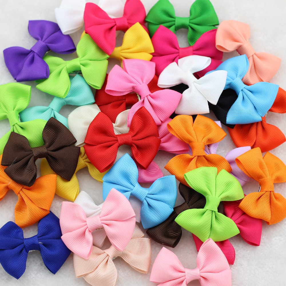 40Pcs/lot 2.5Ribbon bows with hairclips Baby Girls Little Hair clip Soild Bows Children Accessories For Hair Cute Kids Hairpins