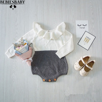 INS Hot Boys Infant Rompers Baby Girls Long Sleeve Jumpsuits Ruffles Princess Girl Sweet Knitted Overalls