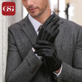 2016 GSG Genuine Leather Winter Gloves Men Vintage Sheepskin Leather Gloves Black Thick Warm Lining Male Gloves Brand Mittens