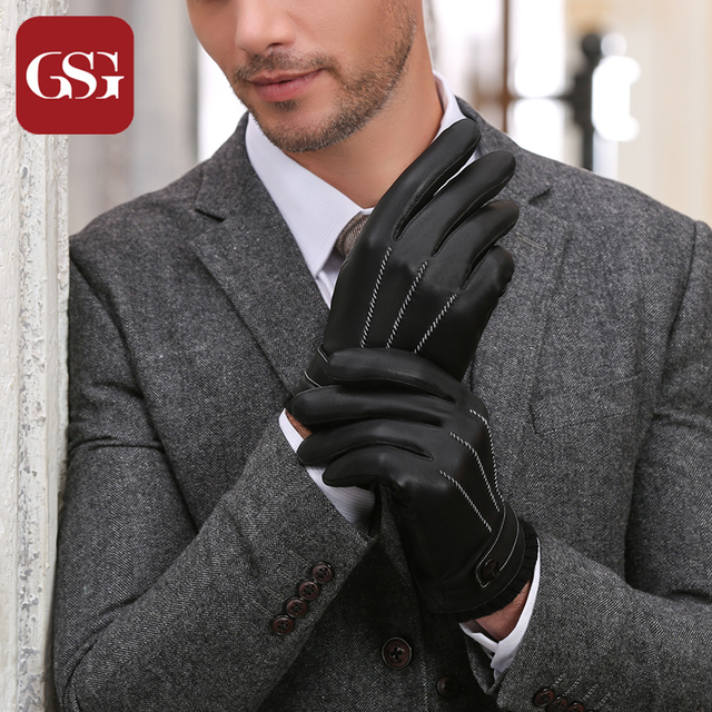 2016 GSG Genuine Leather Winter Gloves Men Vintage Sheepskin Leather Gloves Black Thick Warm Lining Male Gloves Brand Mittens