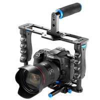 Aluminium-legierung kamera video käfig film film machen rig kit video käfig + griff grip + stange für canon 5d/700d/650d nikon d7200 dslr