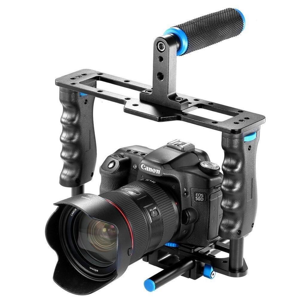 En Alliage d'aluminium Caméra Vidéo Cage Film La Réalisation de Films Rig Kit Vidéo Cage + Poignée Grip + Tige pour Canon 5D/700D/650D Nikon D7200 DSLR