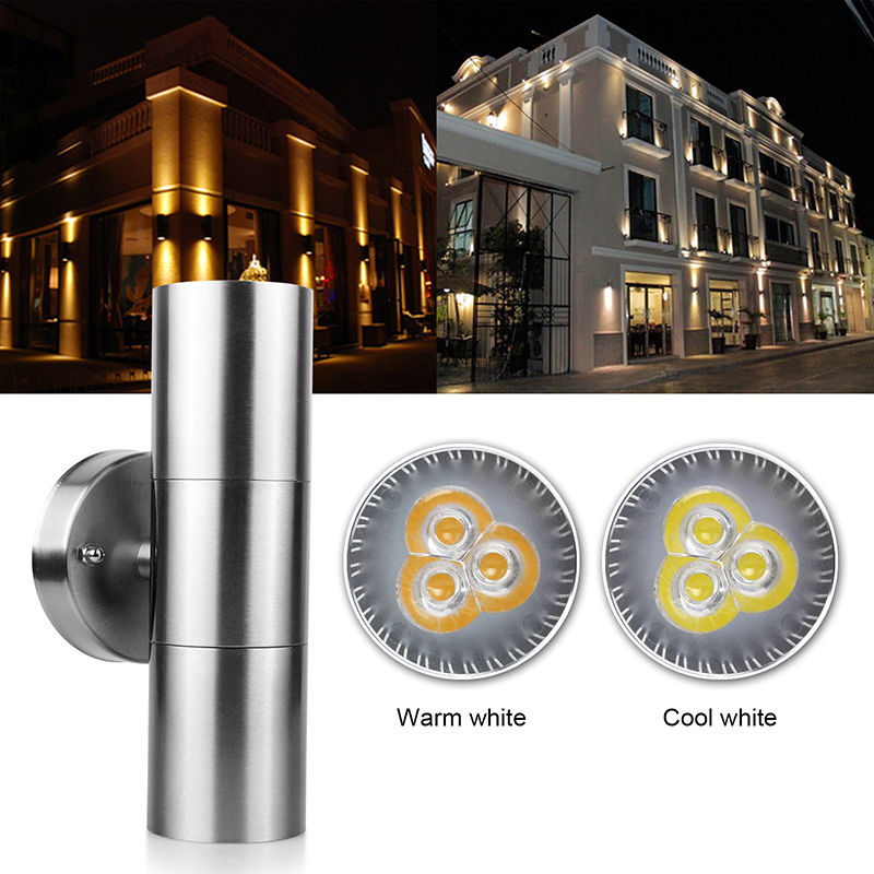 NEW Stainless Steel Up Down Wall Light GU10 Bulb IP65 Double Outdoor Wall Light Led Wall Lamp AC 85-265V garden lighting ZBD0033 black led wall light waterproof ip65 stainless steel up down gu10 double wall lamp indoor outdoor wall lamp ac 85 265v