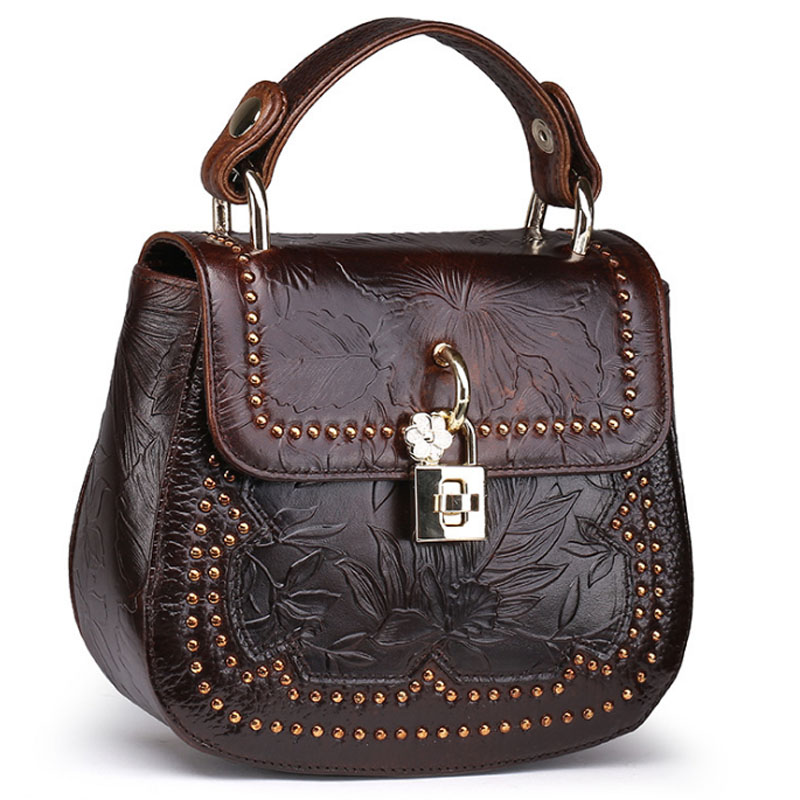 New Women Vintage Trend Handbag Oil Wax Genuine Leather Cowhide Embossed Tote Bag Casual Crossbody Shoulder Bag women vintage trend genuine leather embossed tote bag casual crossbody messenger shoulder bags famous brand cowhide handbag