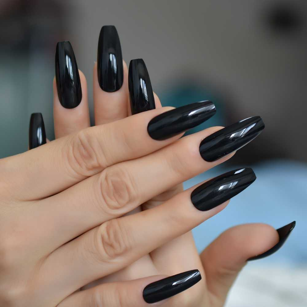 Classic Extra Long Coffin Nails Pure Black Elegant Shiny Ballet Fake Nails Artificial Acrylic Press On Nails Aliexpress