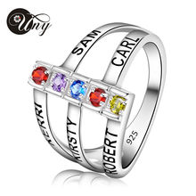 UNY Personalized Mothers ring Engravable Simulated Birthstone Ring in Sterling Silver (5 Stones And Names) Customized Heirloom