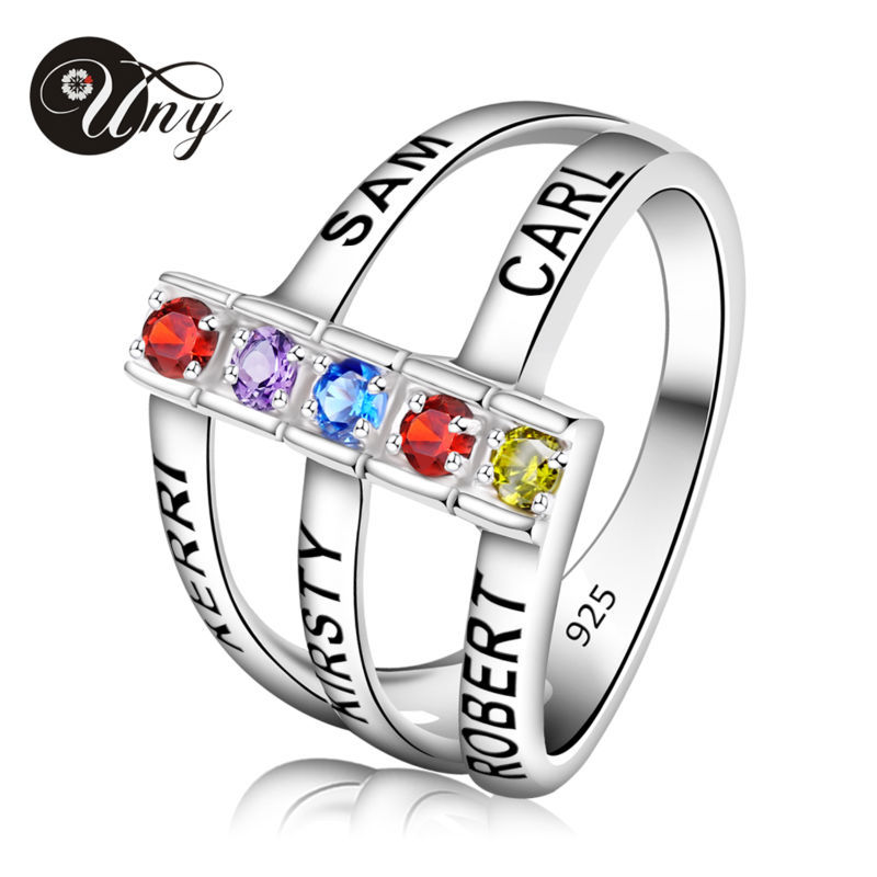 UNY Rings Personalized Mothers ring Custom Engrave DIY Birthstone Rings 925 Silver Valentine Mothers Heirloom Love Promise Ring цена 2017