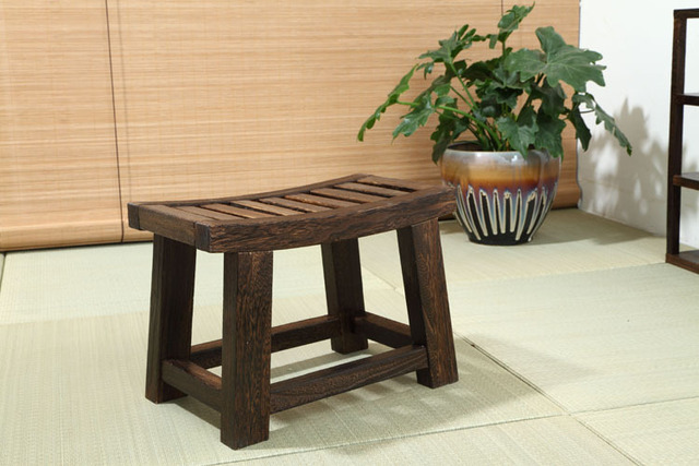 Japanese Antique Wooden Stool Bench  Paulownia Wood Asian Traditional Furniture Living Room Portable Small Wood Low Stool Design