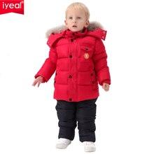 IYEAL רוסיה חורף ילדי בגדי סט לבני תינוק למטה כותנה מעיל + סרבל Windproof סקי חליפת ילדי תינוק בגדים