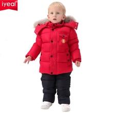 IYEAL روسيا الشتاء الأطفال الملابس مجموعة للأطفال الرضع الفتيان أسفل القطن معطف بذلة يندبروف تزلج دعوى الاطفال ملابس الطفل