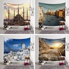 Venice Water City Tapestries London Tower Bridge Wall Hanging Home Decoration Pyramid Bangkok Beach Towel Polyester Woven