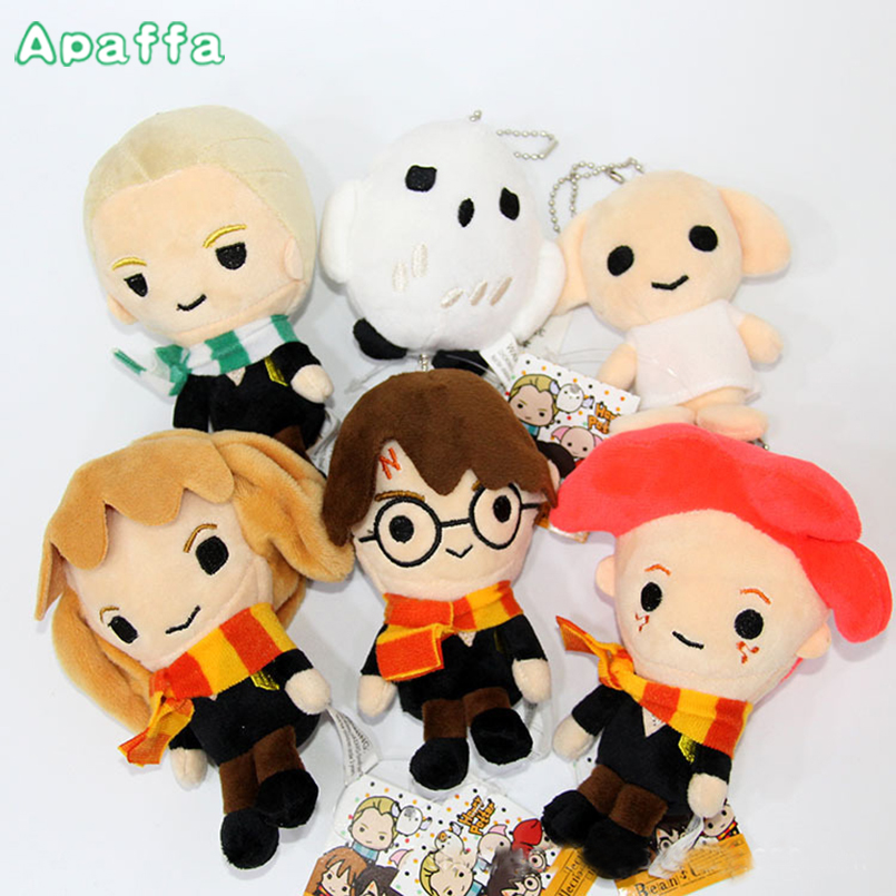 14cm Movie Harry Potter Plush Toys Doll Q Version Harry Malfoy Ron Weasley Hermione Dobby Owl Hedwig Keychain Plush Stuffed Toy harry potter ron weasley gregory goyle lucius malfoy argus narcissa professor sprout figures bricks toys for children kl9002