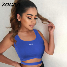 цена на ZOGAA Womens Bandage Tank Top Crop Top JULY Letter Print Summer Ladies Sexy Sleeveless Sexy Vest Tank Tops regata feminina 2019