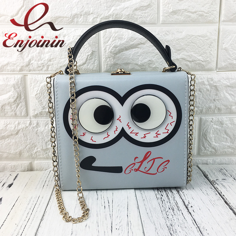 Cute big eyes character design women box shape handbags cascul ladies shoulder & crossbody bags totes messenger bag grey purse fashion design vintage ladies box shape handbags corduroy ock buckle pu leather party totes shoulder bag crossbody messenger bag