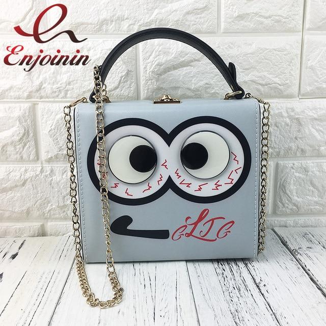 d538852252 Cute big eyes character design women box shape handbags cascul ladies  shoulder   crossbody bags totes messenger bag grey purse