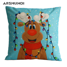 Merry Christmas Dog Cushion Cover Cartoon Linen Snowman Santa Claus pillow cover Home Decorative pillow cover For Living Room цена