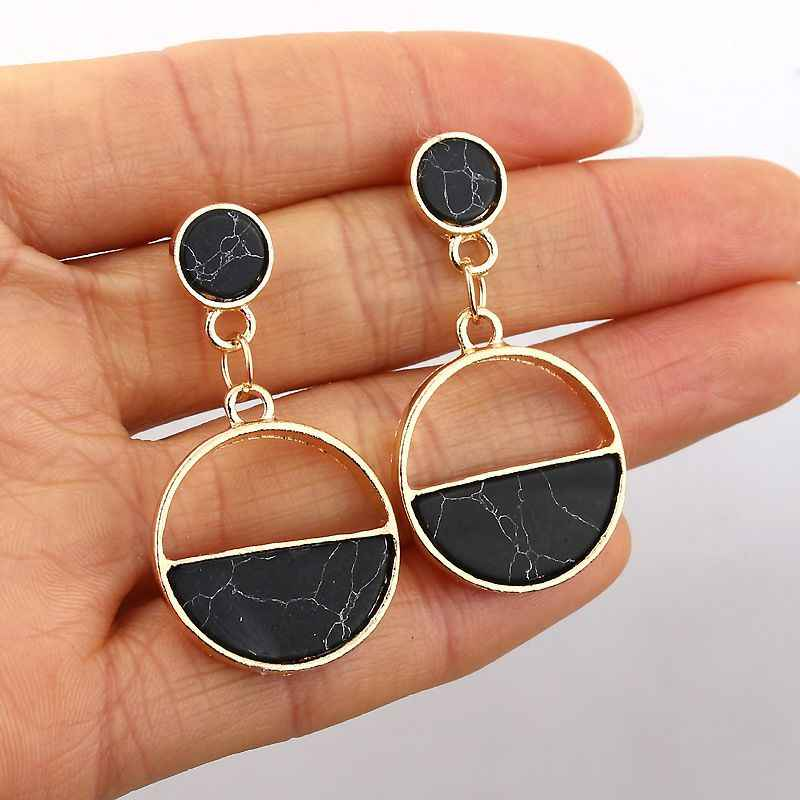 New Black White Stone Geometric Earrings Fashion Round Design Punk Earrings for Wedding Party Jewelry Gift Wholesale