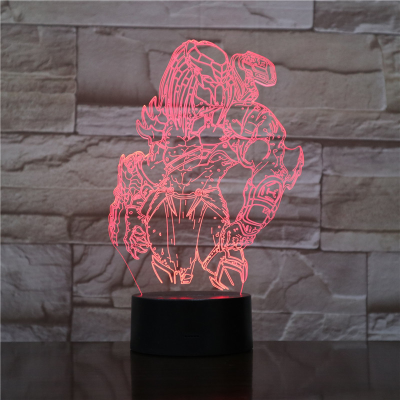 Predator 3D Lamp LED Changing Night lights Visual Illusion 7 Colors Changing LED Alien vs Wolf Predator Desk Lamp For Home Decor new 3d retro ancient sailing sea boat ship led lamp chinese style 7 colors changing illusion night light usb table desk decor