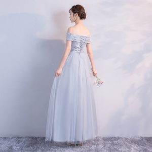 Image 2 - Bruidsmeisje Jurk Lange Grijs Kleur Jurk Wedding Party Dress Borduren Floor Lengte Jurk Terug Van Bandage Vestido Sexy Prom