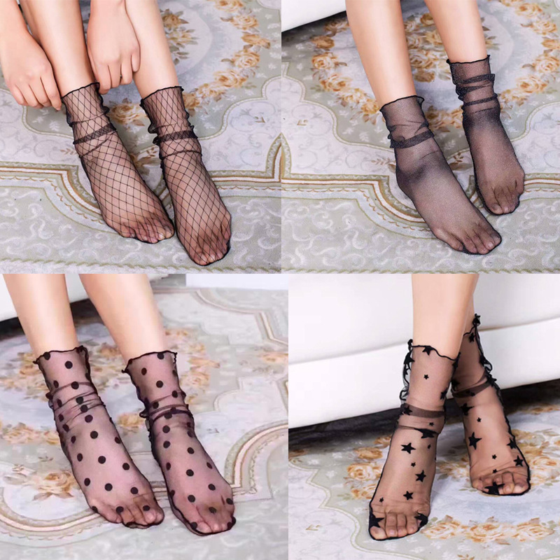 New Fashion Women Summer Socks Sexy Retro Lace Floral Mesh Sock Elastic Fashion Lady Soft Short Socks Crystal Silk Ultrathin Sox