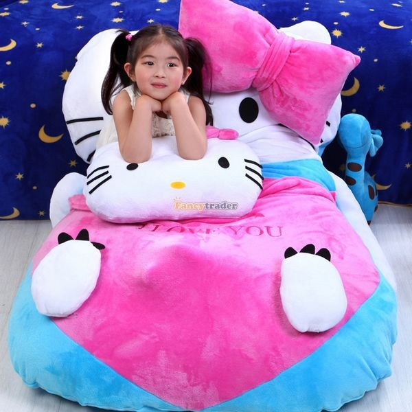 Fancytrader 140cm X 100cm  Giant Lovely  Hello Kitty Bed Carpet Sofa Tatami for Kids, Free Shipping FT50311  (1)