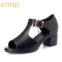 AIYUQI Woman gladiator sandals new 2019 high heel women genuine leather plus size fashion shoes summer footwear