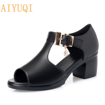 AIYUQI Woman gladiator sandals new 2020 new high heel women sandals genuine leather plus size fashion shoes summer footwear fedonas summer fur sandals women genuine leather sandals suede retro high heels square heel woman wedding party shoes woman