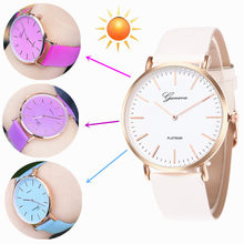 New Fashion Women Clocks and Watches Unique Style Temperature Change Color Sun UV Color Change Men Women Leather Bracelet Watch(China)