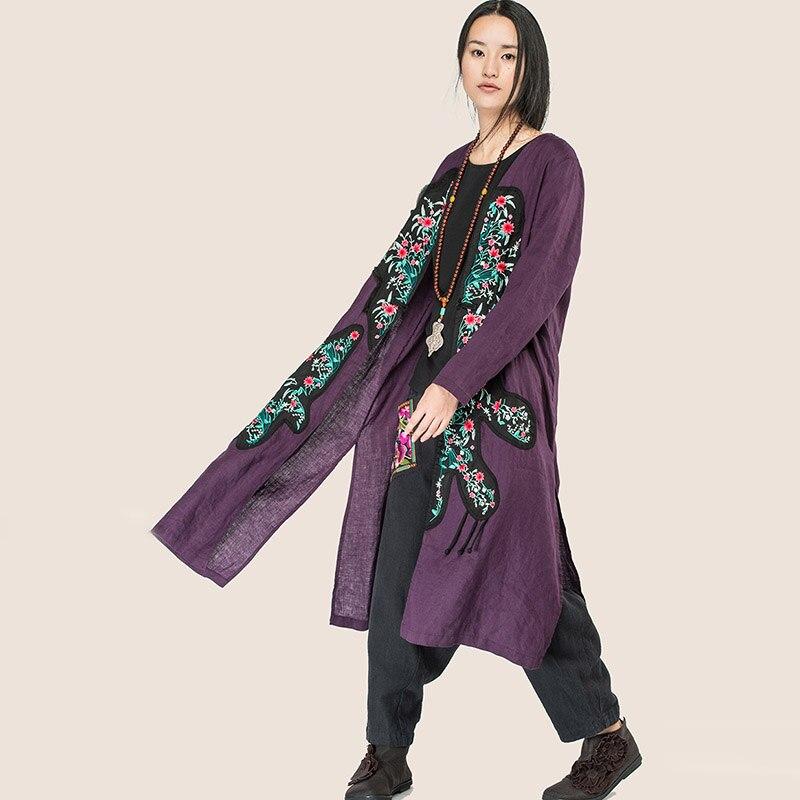 G163y014 Dame Manteau Casual Linge Automne Black Vintage La Jiqiuguer Patch cou Taille Femmes purple Broderie Plus Mince Cardigan Long Lâche Tranchée V nqx6YHawg