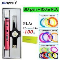 3D Stylo MYRIWELL RP-100C ajouter 20 couleurs 100 mètre PLA lumineux filament USB Plug 5 V 2A Créative Caneta Stylo enfants diy dessin stylo