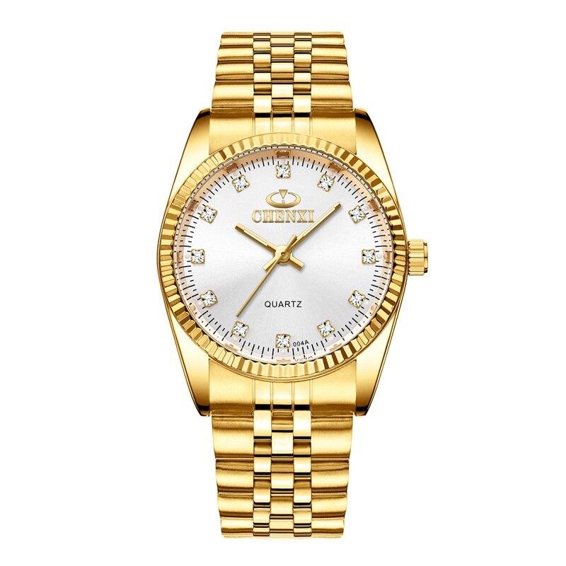 CHENXI Роскошные парные часы золотые модные часы для влюбленных из нержавеющей стали Кварцевые наручные часы для женщин и мужчин аналоговые наручные часы - Цвет: Men White Dial