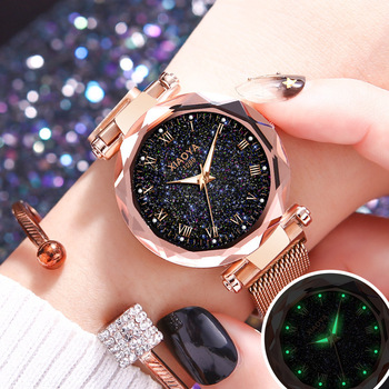 2019 Luxury Bright Starry Sky Watch Women Fashion Rose Gold Roman numerals Ladies Quartz Clock Magnetic Mesh Female Wristwatch