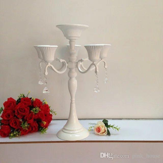 Pièce maîtresse de mariage décoration de Table en métal 5 bras candélabres décoratif cristal bougeoir Stand fournitures de fête décor à la maison