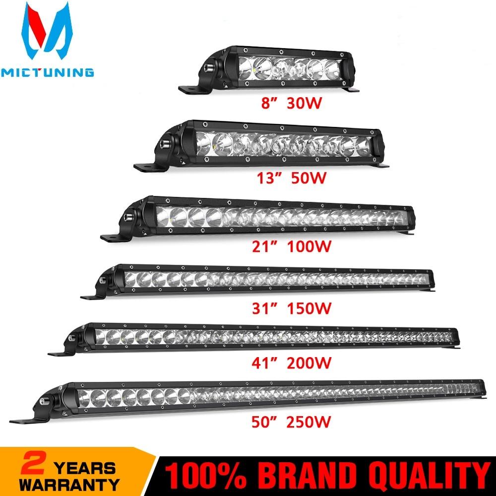 8 13 21 31 41 50''Straight Slim LED Light Bar Single Row 30W 50W 100W 150W 200W 250W For SUV 4WD ATV OffRoad LED Work Light